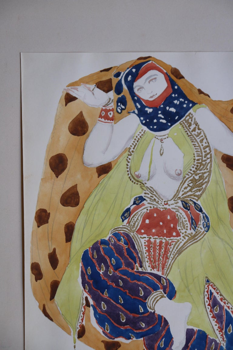 Watercolor of a Semi Nude Dancer for Scheherazade ballet by Bakst, France, 1910 For Sale 4