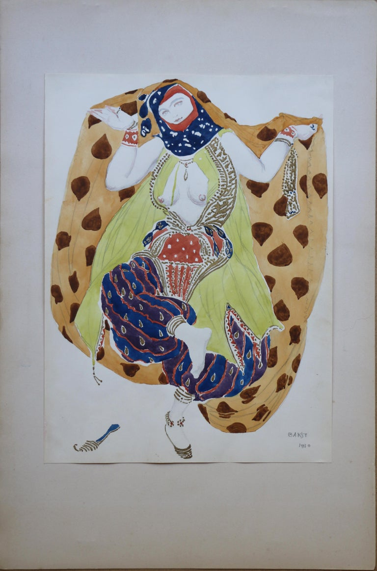 Watercolor of a Semi Nude Dancer for Scheherazade ballet by Bakst, France, 1910 For Sale 5