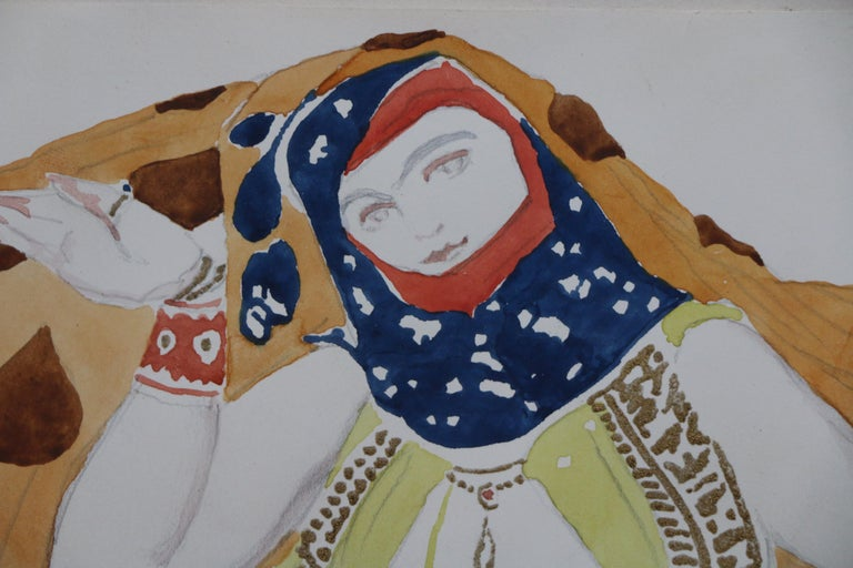 Watercolor of a Semi Nude Dancer for Scheherazade ballet by Bakst, France, 1910 In Good Condition For Sale In Paris, FR