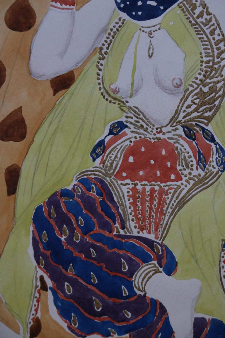 Watercolor of a Semi Nude Dancer for Scheherazade ballet by Bakst, France, 1910 For Sale 2