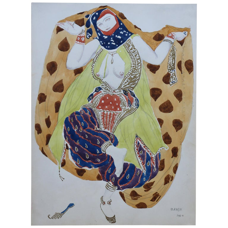 Watercolor of a Semi Nude Dancer for Scheherazade ballet by Bakst, France, 1910 For Sale