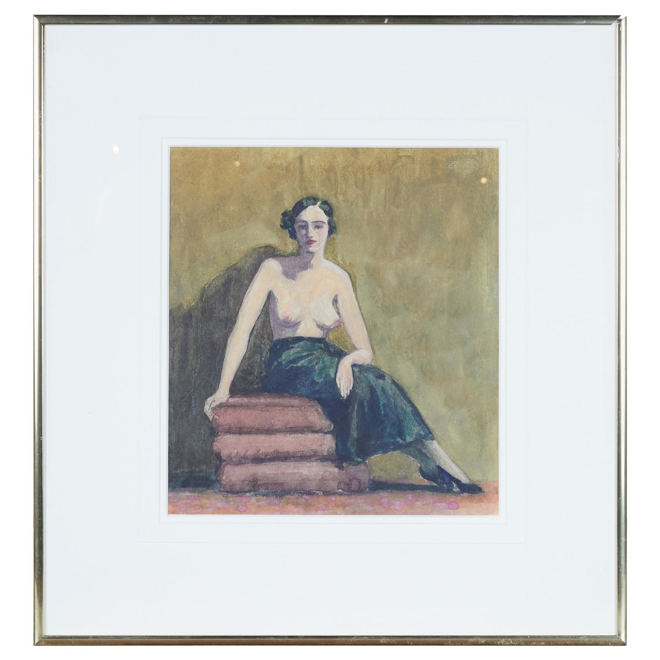 Watercolor of a Semi Nude Woman by Adam Sherriff Scott