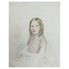 Watercolor of A Young Lady by Robert Hindmarsh Grundy, C.1850