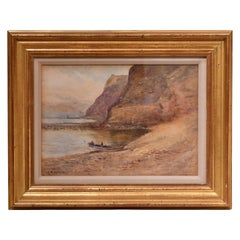 Watercolor of Boat in a Cove by Cliffs, Signed E. Ö. Speck in Gilded Frame