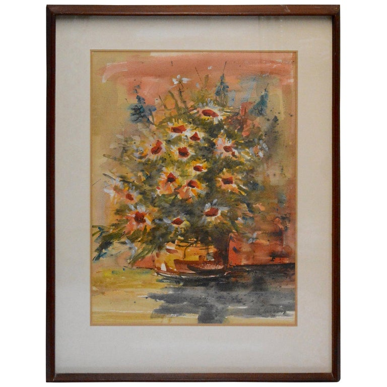 Watercolor of Flowers in Frame, Anton Weiss, 1966 For Sale