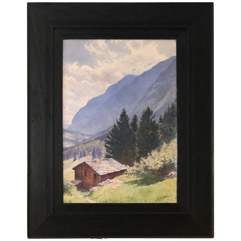 Watercolor of Majestic Mountain View Signed Harold Broadfield Warren