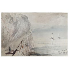 Watercolor of Penmaenmawr, North Wales by Robert Hindmarsh Grundy, C.1850