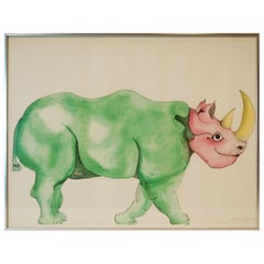 Watercolor of Rhinoceros by Anna Dibble, 1972, Signed and Framed