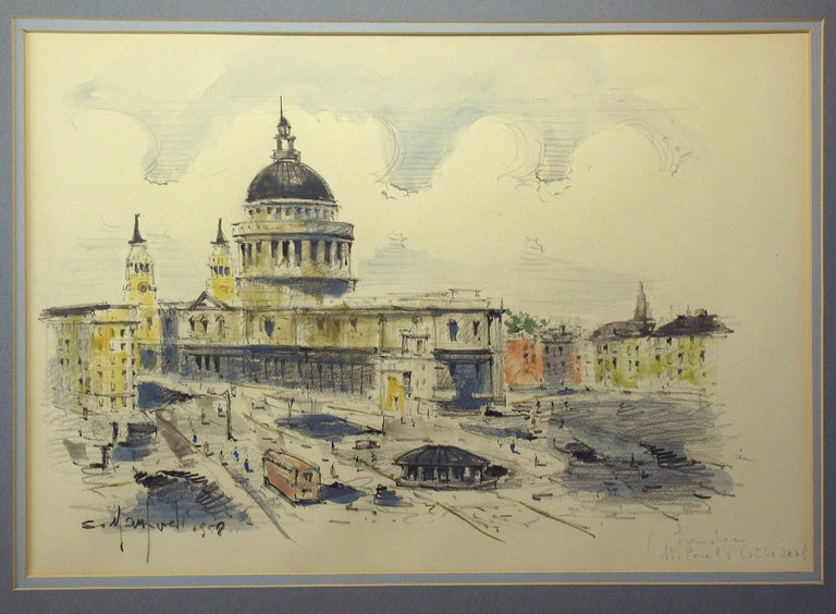 Grand Tour Watercolor of St. Paul's Cathedral in London Sergio Manfredi, Italian For Sale