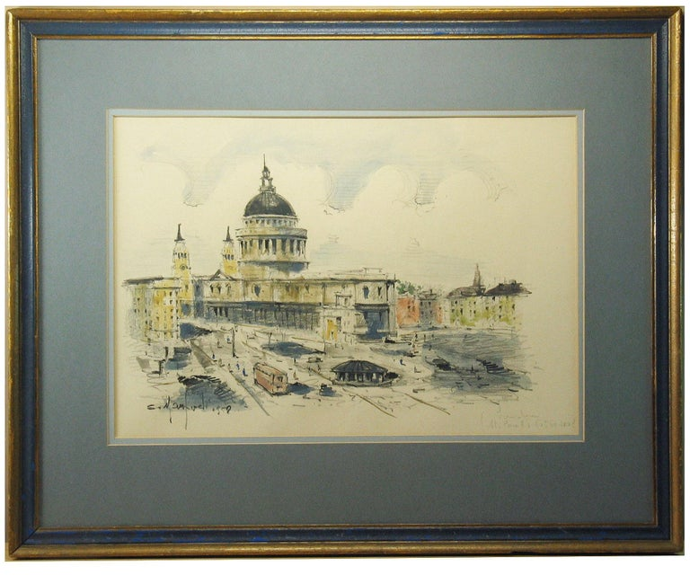 Paper Watercolor of St. Paul's Cathedral in London Sergio Manfredi, Italian For Sale