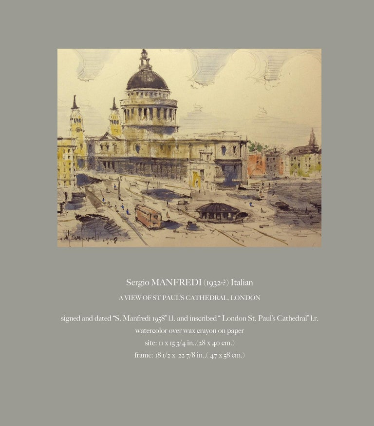 Watercolor of St. Paul's Cathedral in London Sergio Manfredi, Italian For Sale 1