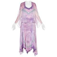 Watercolor Ombré Tie Dye 1970's Silk Chiffon Skirt Cami Set