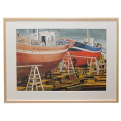 Watercolor on Paper Hong Kong Boat Works 1969 Signed 'Michael Dunlavey 2012'