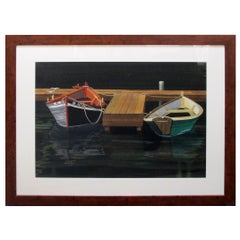 Watercolor on Paper 'Interlude, Two Dories, Boston Harbor by 'Michael Dunlavey