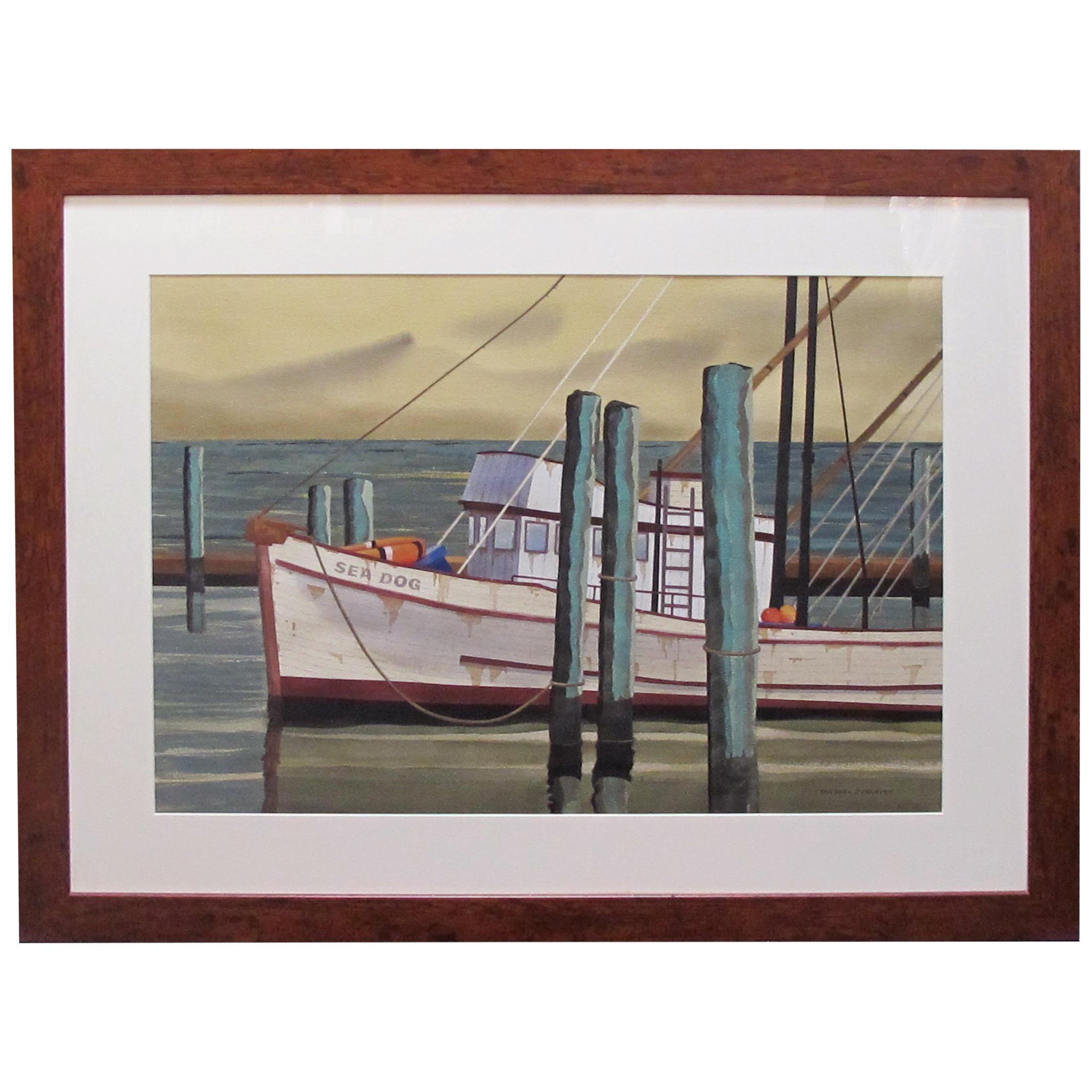 Watercolor on Paper 'Sea Dog, Santa Barbara, California' Signed Michael Dunlavey