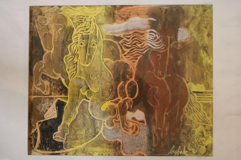 Mid-Century Modern Caseine on Paper Painting by Eduard Buk Ulreich