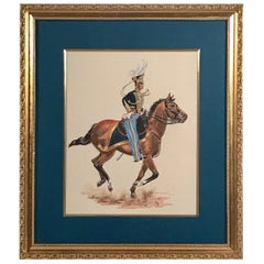 Watercolor Painting of Cavalry Soldier on Galloping Horse, Monogramed