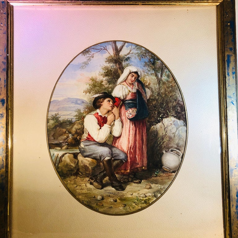 Watercolor painting depicting lovers in the woods signed A. Buzzi. Archille Buzzi is a well listed artist who lived in Italy in the late 19th century. This wonderful watercolor has vibrant colors and detailed artistry. The romantic subject is very