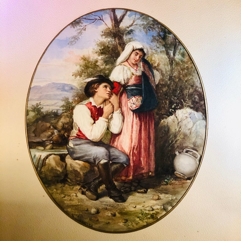 Romantic Watercolor Painting of Lovers in the Woods Artist Signed A. Buzzi For Sale