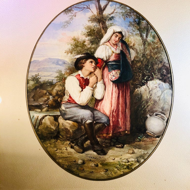 Hand-Painted Watercolor Painting of Lovers in the Woods Artist Signed A. Buzzi For Sale