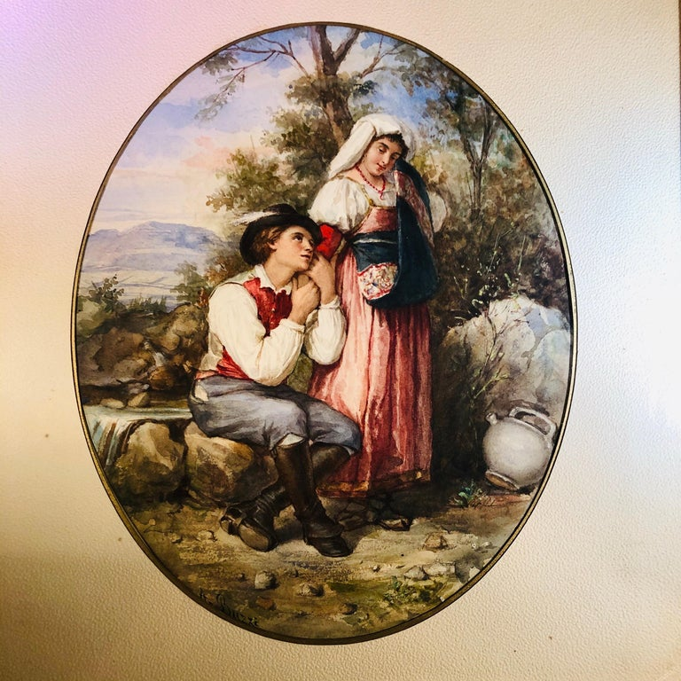 19th Century Watercolor Painting of Lovers in the Woods Artist Signed A. Buzzi For Sale