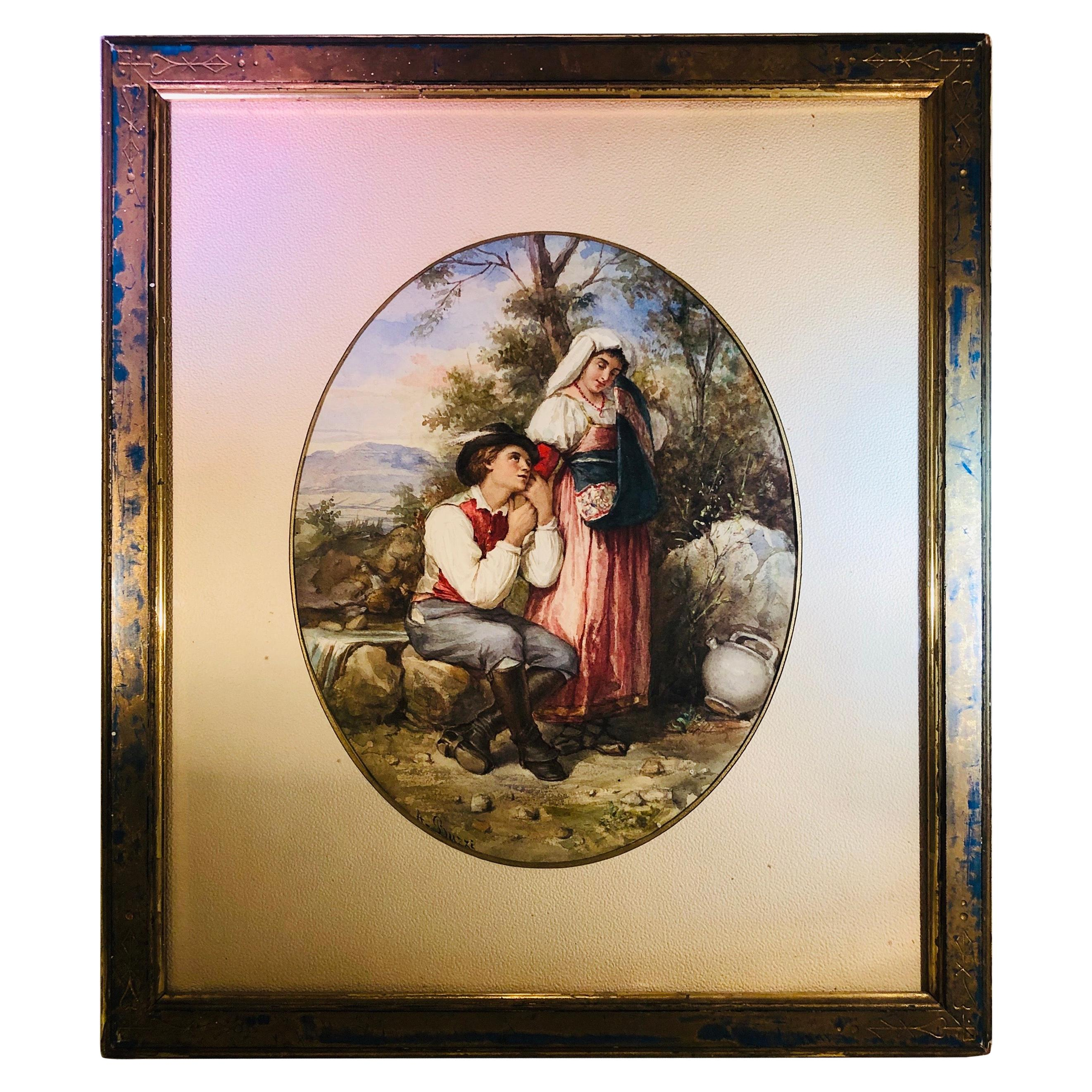 Watercolor Painting of Lovers in the Woods Artist Signed A. Buzzi