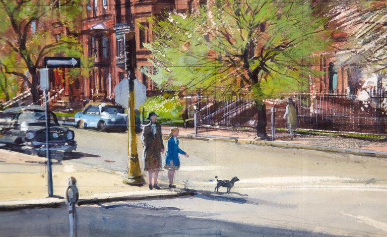 Painted Watercolor Painting 'The Stop Light' by A. Lassell Ripley, Listed Am. Artist For Sale