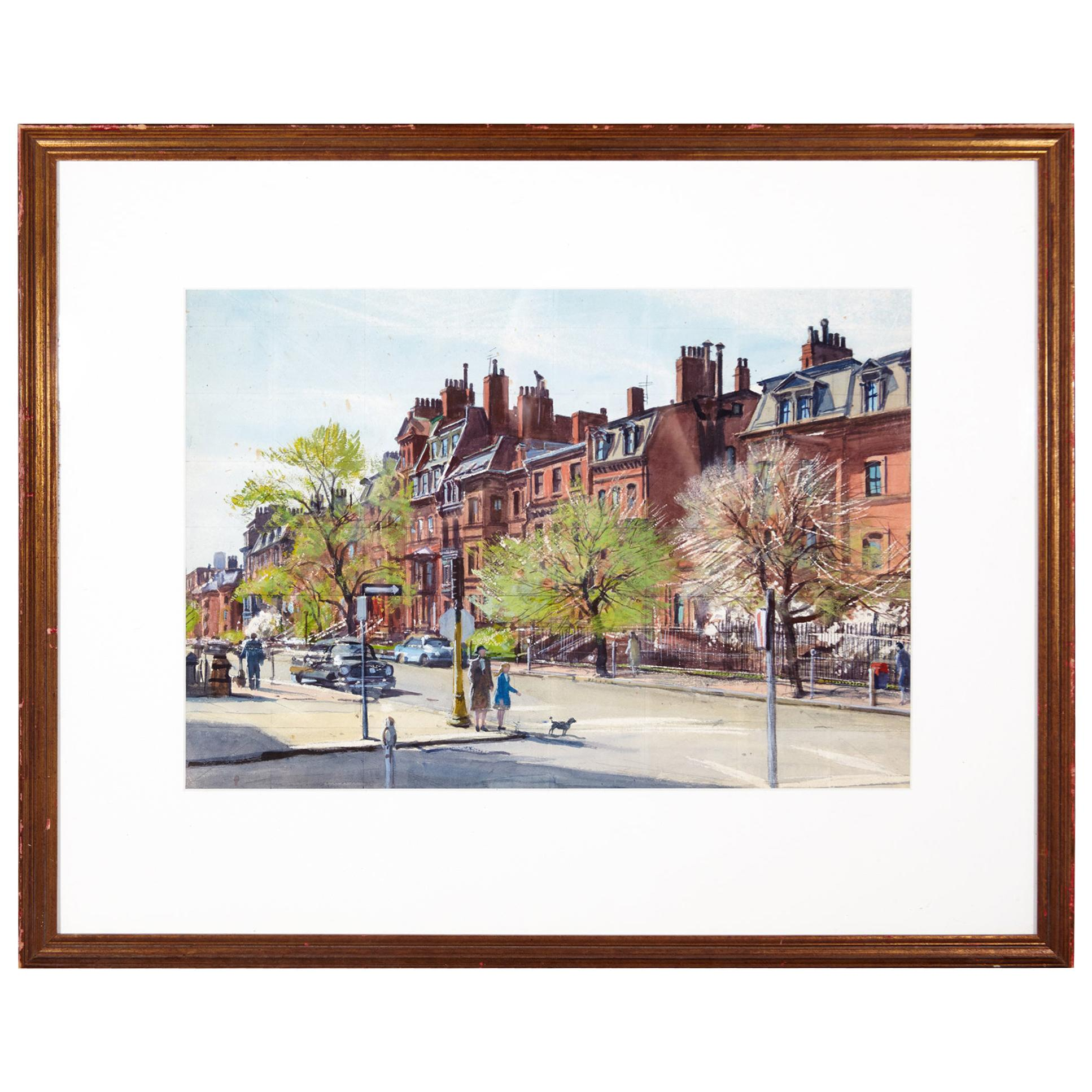 Watercolor Painting 'The Stop Light' by A. Lassell Ripley, Listed Am. Artist