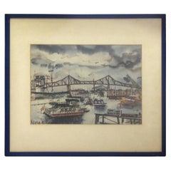 Watercolor Work of the Brooklyn Bridge