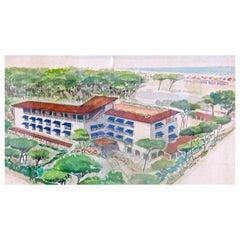 """Watercolors on Paper """"Albergo Al Forte"""" Lato Monti by Maurizio Tempestini, 1939"""