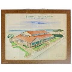"""Watercolors on Paper """"Cinema Al Forte Dei Marmi"""" Maurizio Tempestini, 1939"""