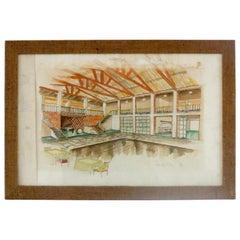 """Watercolors on Paper """"LA CAPANNINA INTERNO"""" A FORTE DEI MARMI M. Tempestini 1939"""