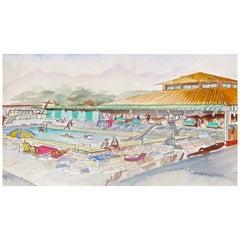 """Watercolors on Paper """"Piscina Al Forte Dei Marmi"""" Maurizio Tempestini, 1939"""
