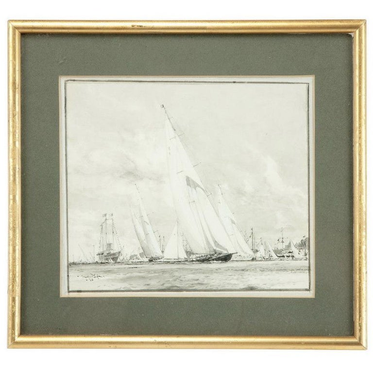 Watercolour of Britannia K1 prepared for King George V by Charles Dixon RA For Sale