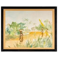 Watercolour on Luez paper, African Landscape