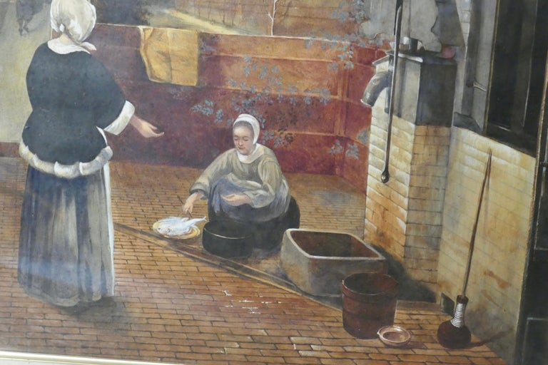 "Watercolor ""Woman and Her Maid in a Courtyard"" in the manner of Pieter de Hooch, 