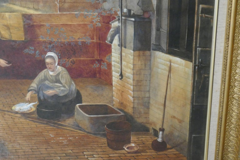 "Watercolor ""Woman and Her Maid in a Courtyard"" in the Manner of Pieter de Hooch In Good Condition For Sale In Chillerton, Isle of Wight"