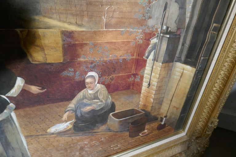 "Watercolor ""Woman and Her Maid in a Courtyard"" in the Manner of Pieter de Hooch For Sale 1"