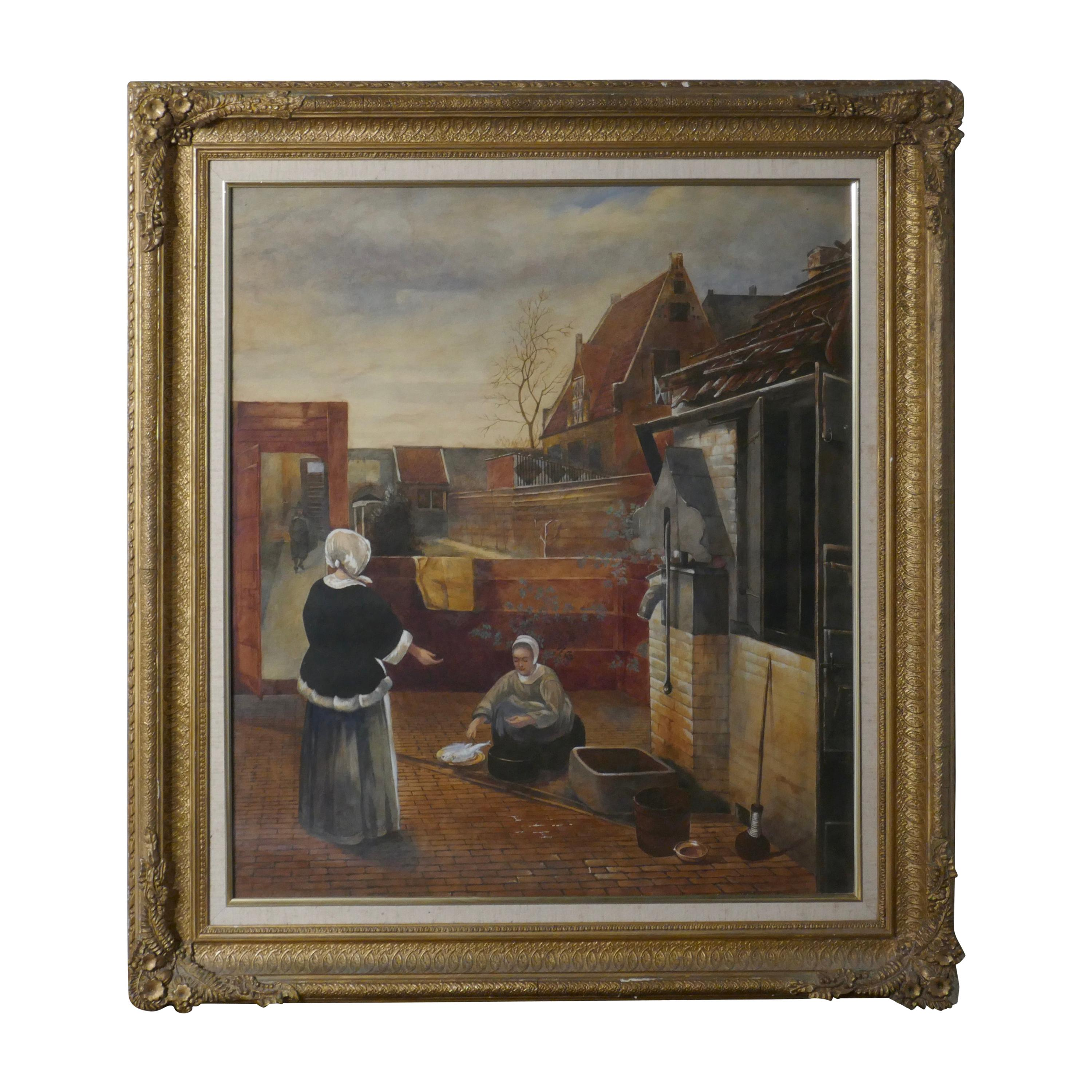 """Watercolor """"Woman and Her Maid in a Courtyard"""" in the Manner of Pieter de Hooch"""