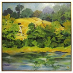 """""""Waterfall, Adirondacks"""" Original Oil Painting Signed by St. Jamara"""