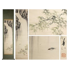 Waterfall and Bird Scene Meiji Period Scroll Japan 19c Artist Marked