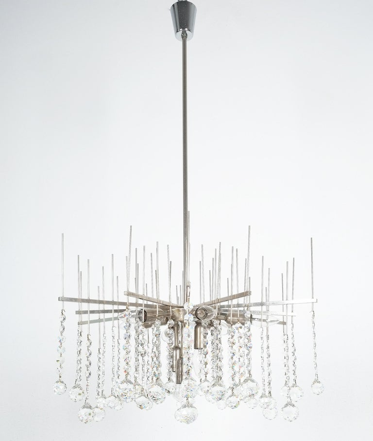 Large waterfall chandelier by J.T. Kalmar with a diameter of 27