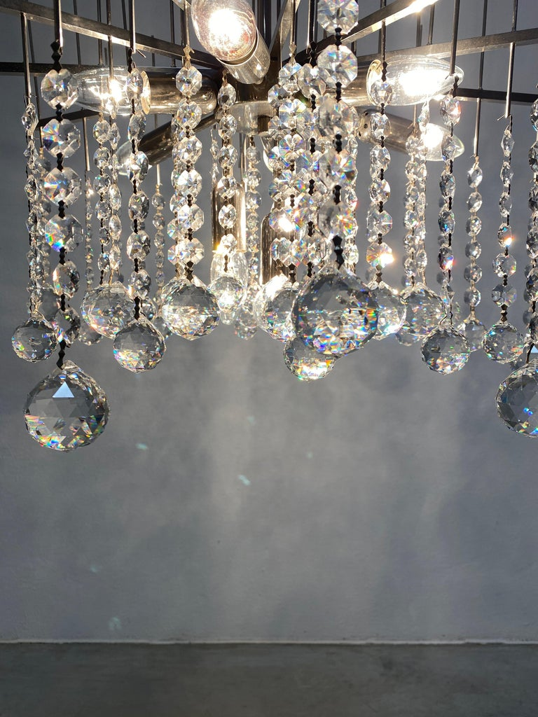 Waterfall Chandelier by J.T. Kalmar Crystal Glass and Nickel Brass, Austria 1960 In Good Condition For Sale In Vienna, AT