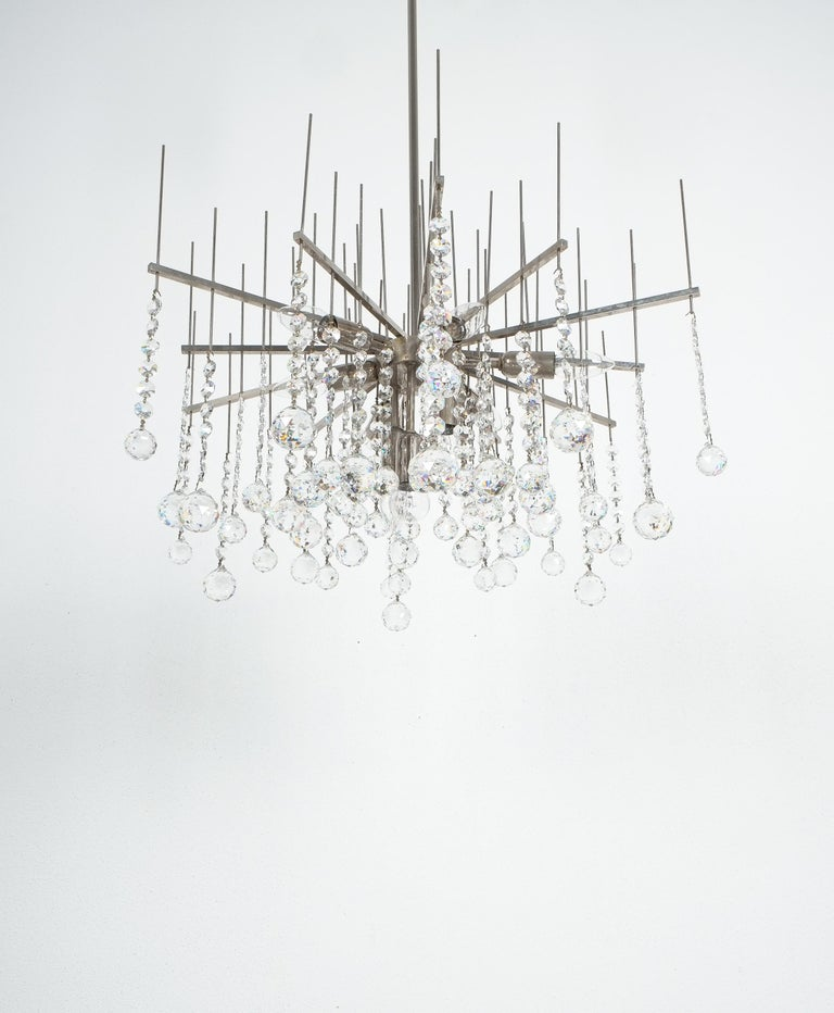 Mid-20th Century Waterfall Chandelier by J.T. Kalmar Crystal Glass and Nickel Brass, Austria 1960 For Sale