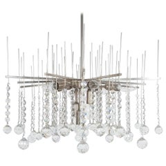Waterfall Chandelier by J.T. Kalmar Crystal Glass and Nickel Brass, Austria 1960