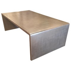 Waterfall Coffee Table with Silver Leaf Finish in the Style of Jean Michel Frank
