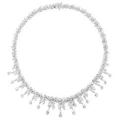 Waterfall Diamond Necklace In Platinum
