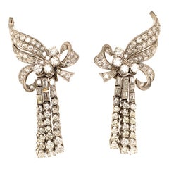 'Waterfall' Earrings with Diamonds in Platinum