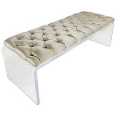Waterfall Lucite Tufted Bench
