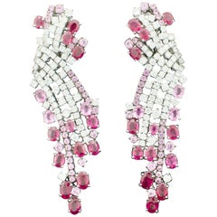 Waterfall Ruby and Pink Sapphire Diamond Earrings